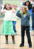 Jordan Jones, 10, and Katie Orlady, 10, rehearse for Star Follies